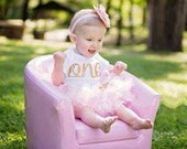 Baby Girl 1st Birthday Outfit/Pink and Gold Birthday Outfit/Baby Girl First Birthday Outfit/Girls First Birthday Outfit