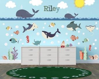 Ocean Wall Decals, Ocean Theme Nursery Decor, Ocean Theme Kids Room, Whale  Wall Part 78