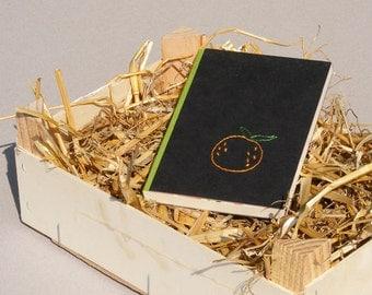 Hand Stitched Notebook, Small Sketchbook, Custom Journal, Hand Bound Blank Book, Hand Embroidered Fruit Orange, Gift Idea Under 25 Dollars