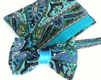 bow tie,mens bow,bow,handkerchief,mint,navy-blue,paisley