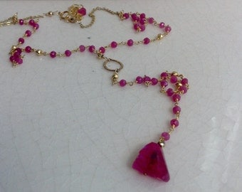 Ruby Moonstone Y Necklace/ Fuschia Gold Boho Necklace/ Streetstyle Jewelry