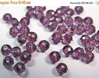 ON SALE 50 Kristall-Schliffperlen FP 4x3mm Lila Rondell faceted beads purple Abacus
