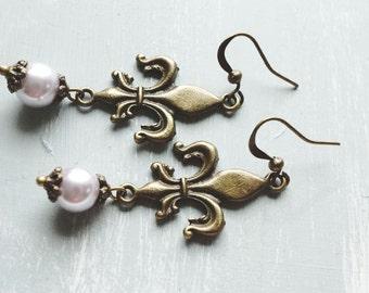 50% OFF Earrings, Lavender Pearl and fleur de lis dangle earrings 1