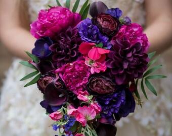 Silk flower trailing bouquet plum, magenta, purple and hot pink