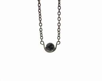 Snowflake obsidian SIMPLICITY necklace, 6 mm snowflake obsidian bead, 925 Sterling silver wire wrap, stainless steel finishing and chain