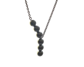 SIMPLICITY, 8 mm hematite beads necklace hematite asymmetric, stainless steel 316 l chain and finishing, statement necklace, natural stone