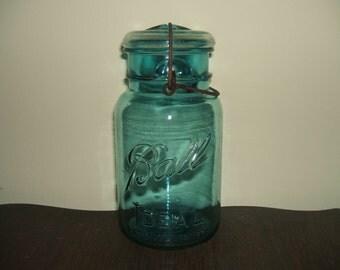 Antique Aqua Glass Ball Ideal Mason Canning Jar