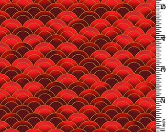 Dragon Moon: Waves - Red/Gold (1/2 yd)