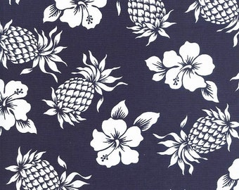 TROPICAL FABRIC: Pineapples & Hibiscus in Navy Blue (By the Half Yard)