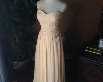 Champagne bridesmaid dress, Prom dress 2016 - sweetheart strapless chiffon dress