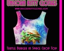 Turtle Burger In Space - Crop Top