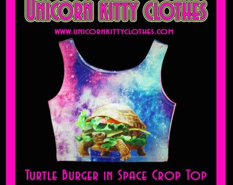 Turtle Burger In Space - Crop Top