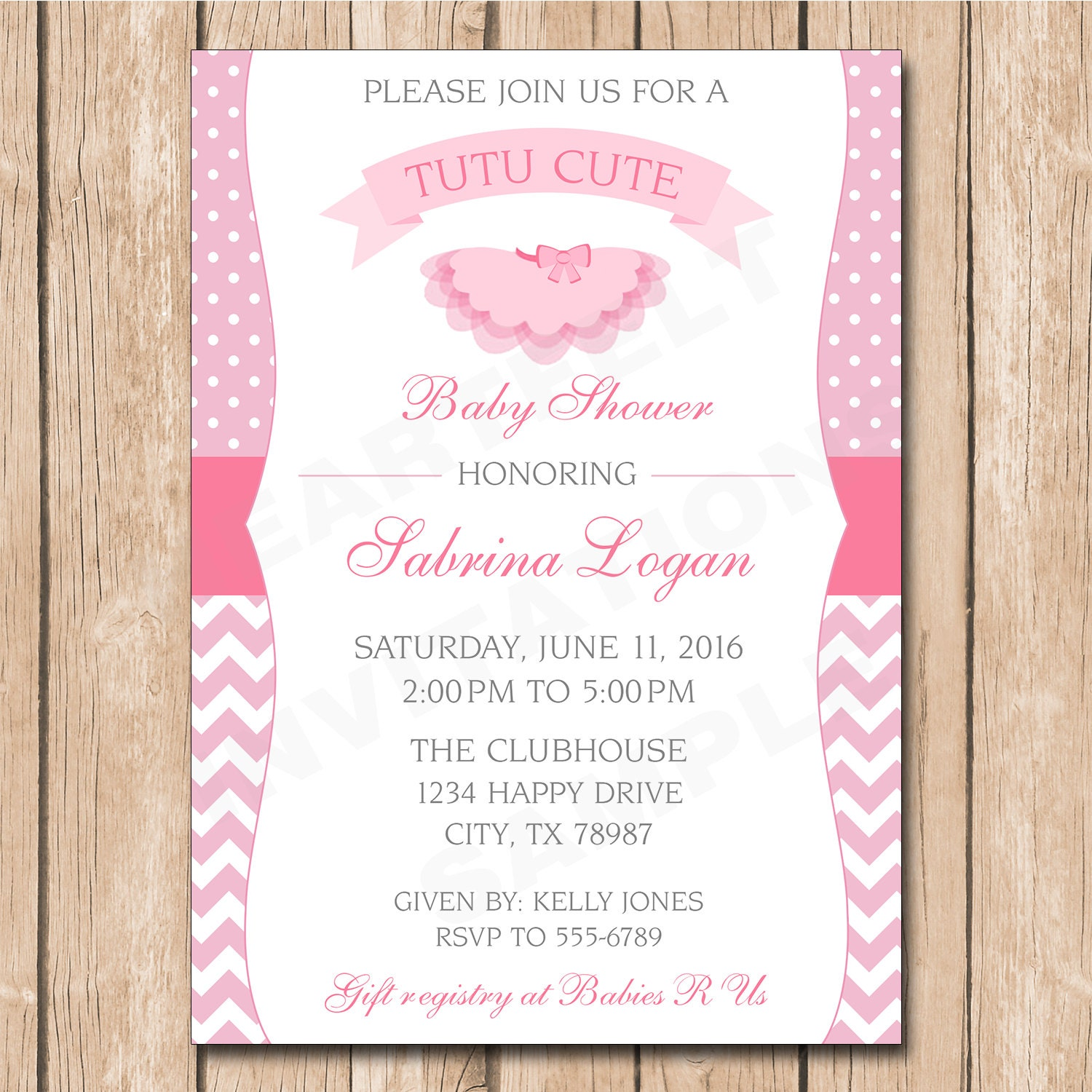 tutu cute baby shower invitation ballerina chevron polka