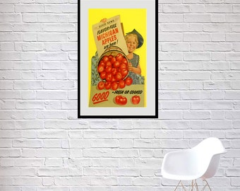 Reprint of a vintage Michigan Apples advertising poster