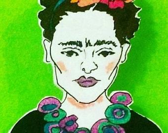 Frida Kahlo brooch - Gift for Frida Kahlo lovers - Frida art - Costume jewellery - Feminist icon - Girl power art - Brooch - Kahlo jewellery