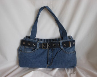 Blue Washed Denim From Recycled Pants and Boxer Purse/Tote