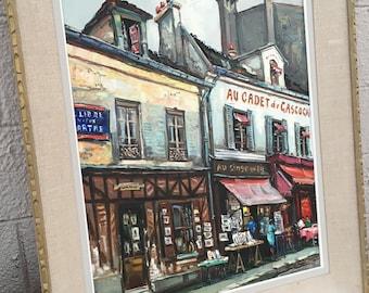 Vintage original signed  painting of Paris' Place du Tertre
