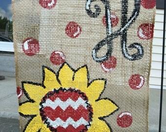 Burlap Flower Garden Flag