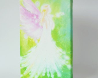"""Canvas art angel stretched on wooden frame: """"To the light"""", abstract fine art print, guardian angel already streched on frame"""