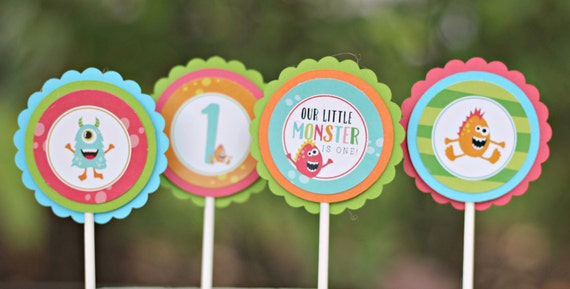 LITTLE MONSTER BIRTHDAY Party Decorations Cupcake Toppers Monster