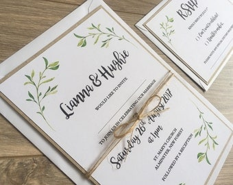 Rustic Leaves Wedding Invitation. Nature Leaves wedding invitation set