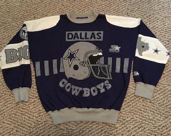 Rare Vintage All Over Print Starter NFL Football Dallas Cowboys Crewneck Sweatshirt Size XL