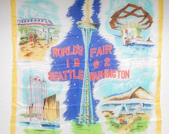 "30"" x 30"" 1962 World's Fair Seattle Washington Rayon + Silk Scarf Japan Space Needle"