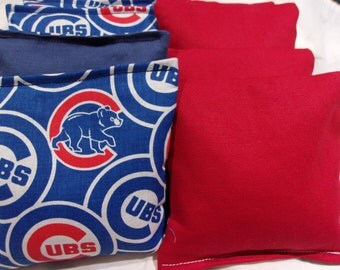 8 ACA Regulation Cornhole Bags - MLB Chicago Cubs  and Solid Red