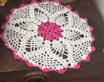 6 Crochet Doilies Pink Rim