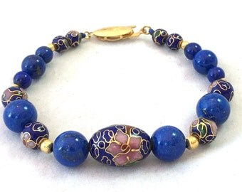 Cloisonne and Lapis Lazuli Bead Bracelet, Blue and Gold Bracelet, Vintage Lapis Bracelet, Asian Inspired Beaded Bracelet Gold Pyrite Flecked
