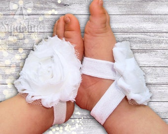 White Baby Shoes - Baby Barefoot Sandals - Piggy Petals - Toe Blooms - Baby Sandals Baptism Shoes - Flower Girl Baby Shoes - Newborn Shoes