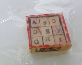 DOLLHOUSE New In Package Vintage Antique-Style Shackman Alphabet  A-B-C Blocks