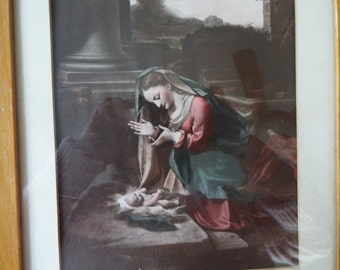 Religious art lithograph Virgin Mary Madonna child Nativity Jesus