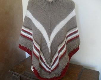 Reduced for sale,knitted poncho OOAK wool alpaca blend