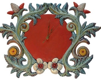 Hand Made Wall Clock in Floral Relief