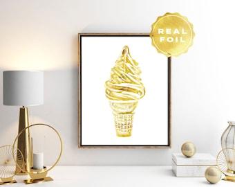 Ice Cream Art - Gold Ice Cream Print - Real Gold Foil Print - Ice Cream Poster - Kitchen Decor - Kitchen Art Print - White and Gold Print