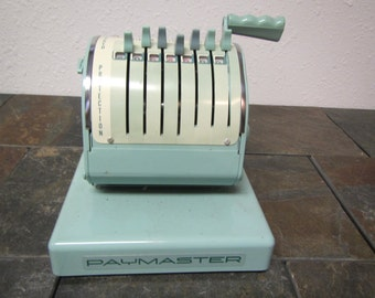 vintage PAYMASTER CHECK PRINTER series X-900, 1962 patent , with key** mid century
