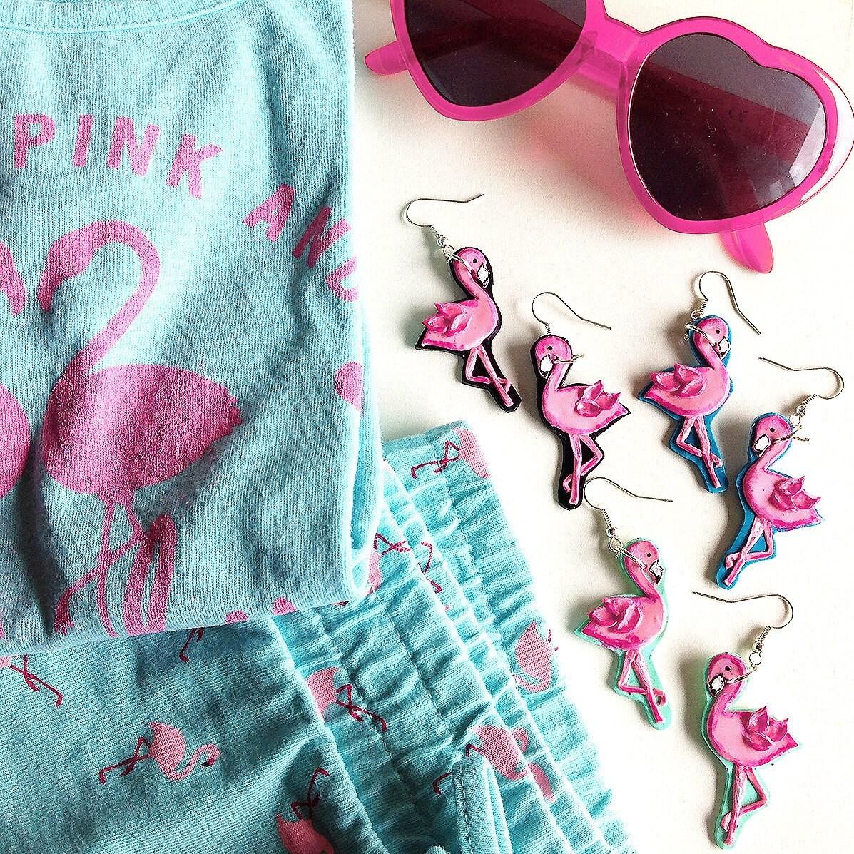 Pink Flamingo Earrings, Rockabilly Rockabella Atomic Tropical Hawaii Retro  50's Pin Up Mid Century Retro Style Novelty Jewelry By Milushka