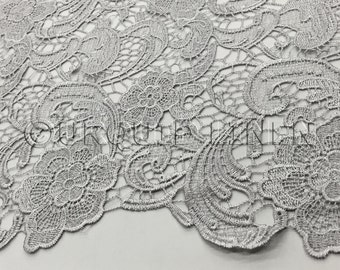 English Lace in Silver - Lace Fabric with Floral Embroidered Design Throughout - Great For Weddings, Bridal Parties, and Special Events