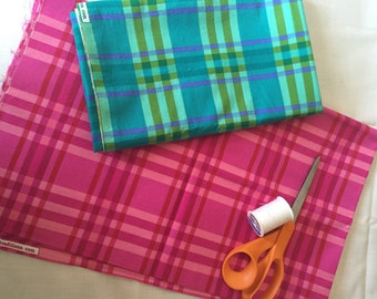 TWO yards, Cotton fabric, plaid fabric, fabric destash, fabric sale