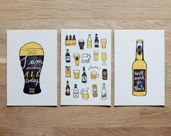 BEER - Letterpress Prints / Letterpress Postcards - set of 3