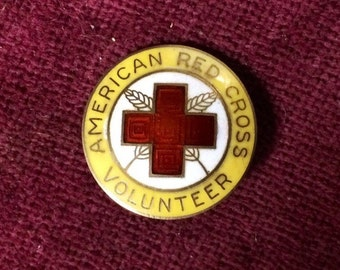 Vintage Red Cross Volunteer Pin - Sterling Silver