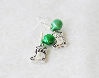 Christmas Stocking Earrings with Green Jingle Bells Silver Holiday Stocking Earrings Stocking Stuffer Jewelry Christmas Gift Teacher Gift