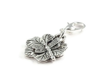 Dragonfly Lily Pad Zipper Pull Purse Charm Clip On Charm