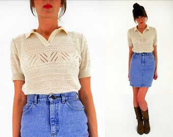 70s knitted polo shirt cream knit top vintage 1970s stretch mod indie hipster medium UK 12