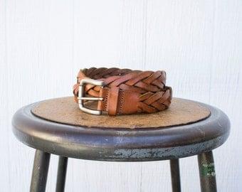 VINTAGE 1990s Genuine Leather Braided Belt | Chestnut Brown Leather Belt | Thick Leather Belt | Cognac Belt | Unisex Adults