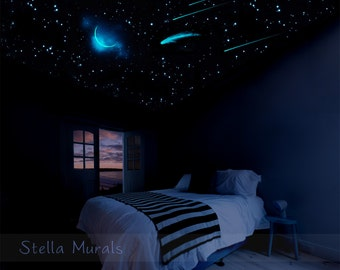 High Quality Glow In The Dark Star Ceiling | 400 1000 Glow Star Stickers | Moon,