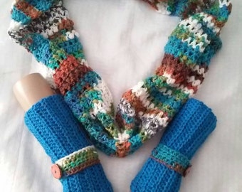 Scarf/Neck Cowl and Fingerless Glove Set- Sedona-CLEARANCE ITEM