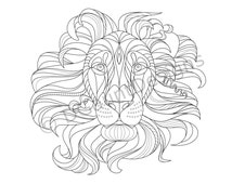 Lion with Flowing Mane Coloring Page