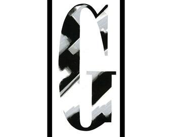 """Framed letterpress """"G"""""""